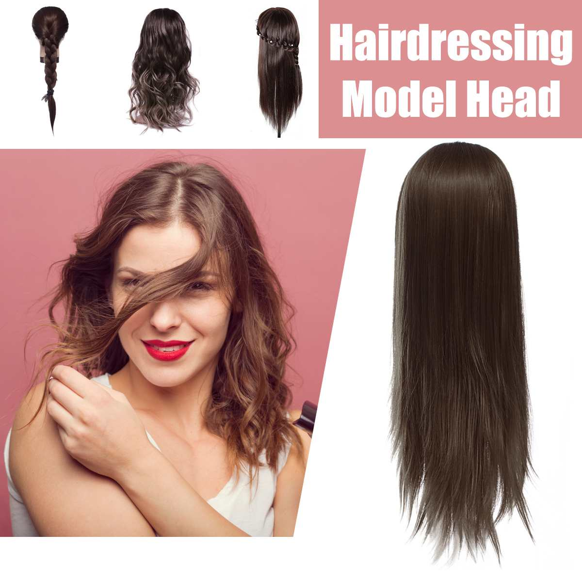 Professional Long Hair Hairdressing Training Practice Mannequin Practice Head Salon Women Hairdresser Styling Head Mold Training image