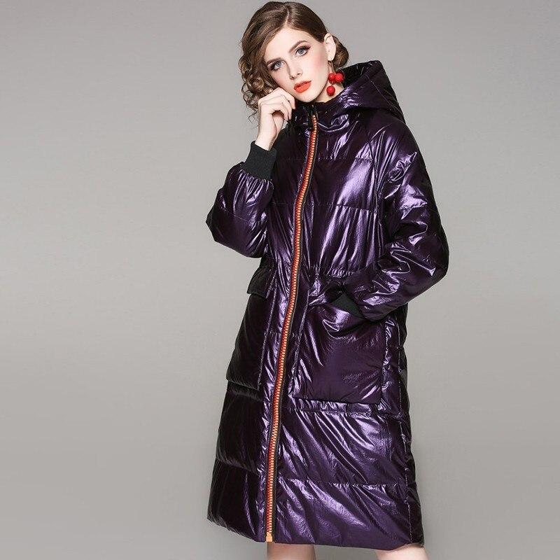 Capuchon vent Canard purple D'hiver Coupe Parka 2018 Femmes À Duvet Brillant Taille Pardessus Ls224 Mode Plume De Blanc Manteau Black Veste Longue Grande 90 Ep0OqWaW