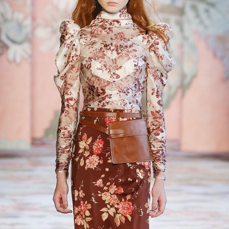 [MENKAY] Vintage Floral Printed Long Sleeve Sheer Tops Womens Silk Blouses Elegant Shirt Korean Fashion Clothing Ladies Clothes
