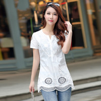 Elegant White Lace Blouse Shirt Sexy Hollow Out Embroidery Feminine Blouse Women V neck Short Sleeve Summer Tops Female