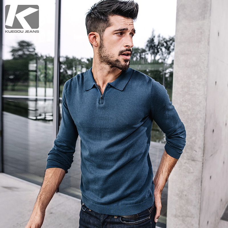 KUEGOU New Autumn Mens Sweaters 100% Cotton Blue Black Color Knitted Brand Clothing For Man's Slim Knitwear Male Pullovers 17003