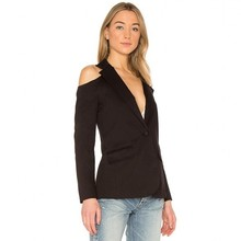 MINSUNDA Black Cold Shoulder Single Button Blazer Ladies Workwear Women Pocket Front Blazers And Jackets Notched Casual Outwear