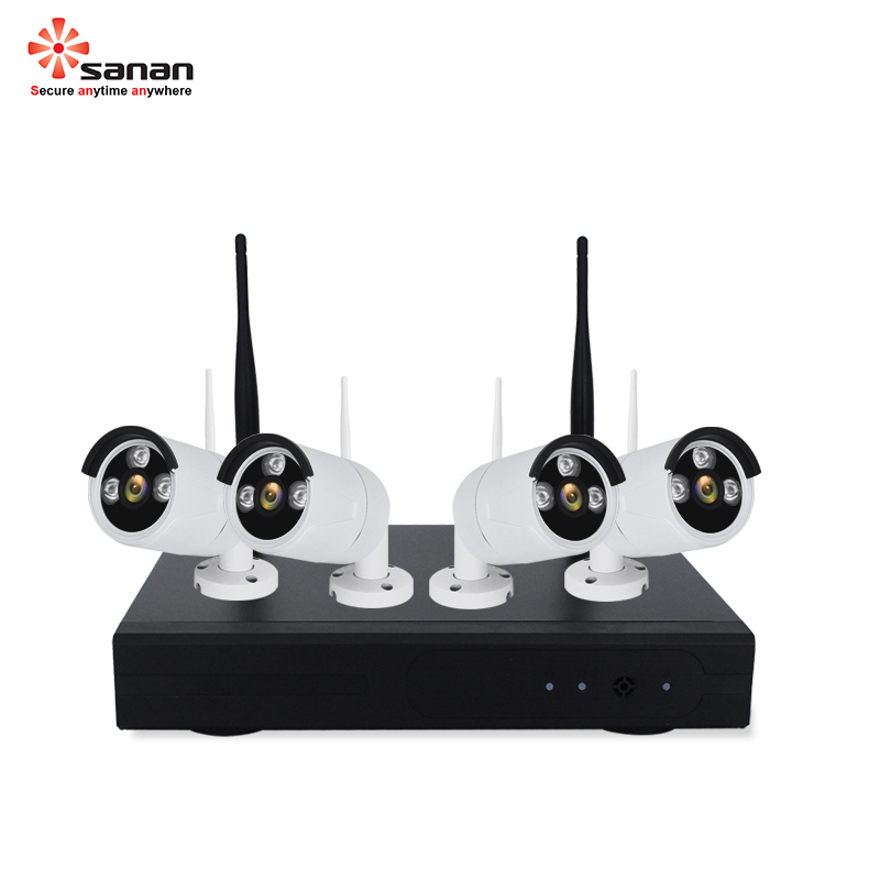 SANAN Wireless Security Camera System 1080P 4PCS Wifi NVR Kit Waterproof Outdoor Wireless CCTV IP Camera Set Night Vision image