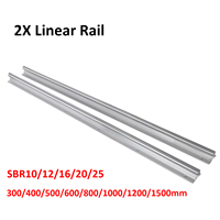 2 個 SBR10 SBR12 SBR16 SBR20 SBR25 10 ミリメートル 12 ミリメートル 16 ミリメートル 20 ミリメートル 25 ミリメートルリニアレール任意長さ支持ラウンドガイドレール Cnc -