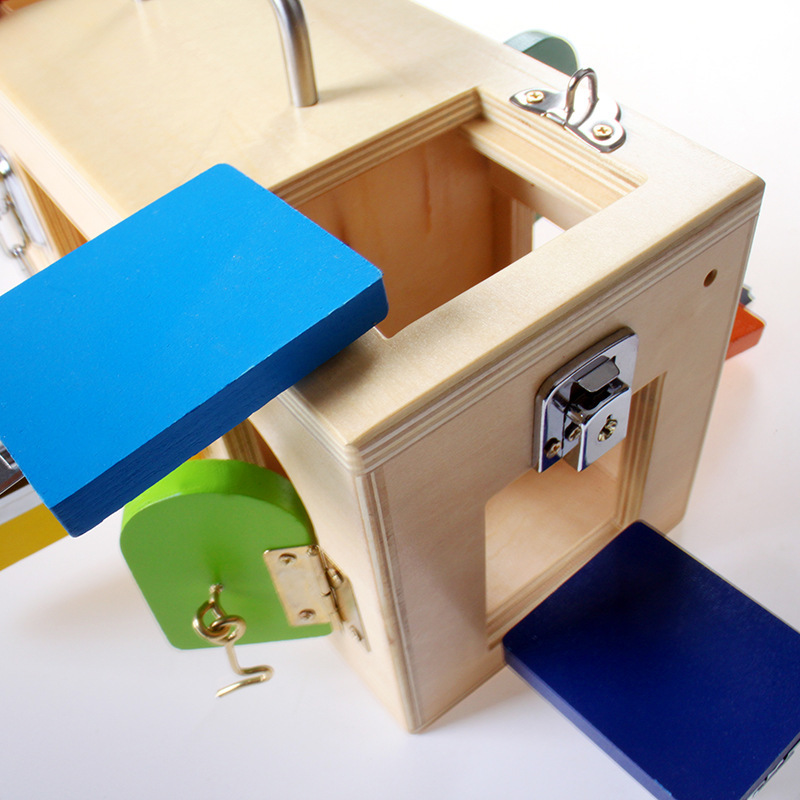 Hotsale Montessori jouets 3 ans serrure boîte Montessori matériaux sensoriels éducatifs en bois jouets pour enfants Montessori bébé jouet - 4