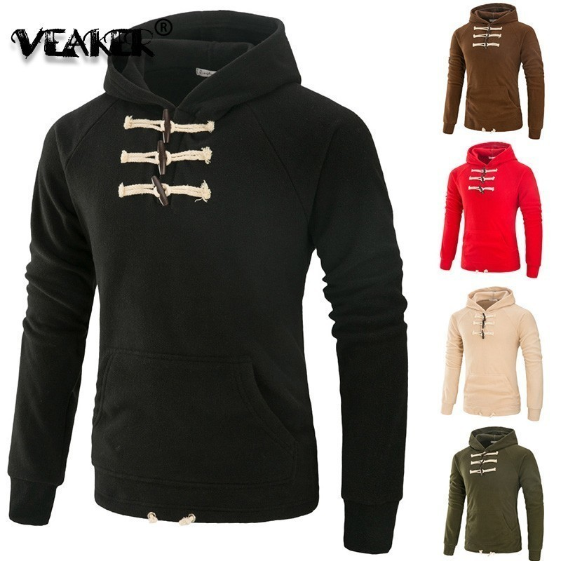 Fleece Hoodies Tracksuit Sweatshirt Coat Mens Horn Button Moletom Patchwork Masculino