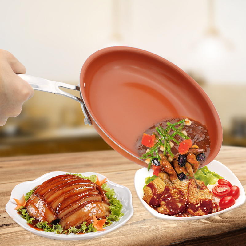 Non-stick Copper Frying Pan 11 Inch Cookware Oven & Dishwasher Safe Ceramic Pan Frying Red Pans Nonstick Skillet Copper Saucepan