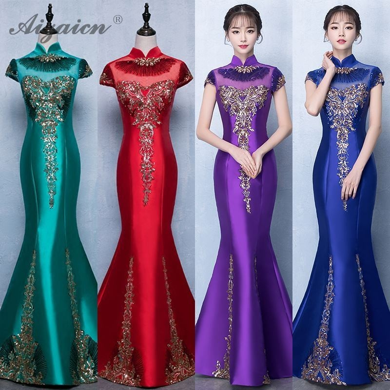 Red Fish Tail Qi Pao Chinese Traditional Dress 2019 Fashion Evening Dresses Sequins Cheongsam Modern Qipao Party Long Gown Host