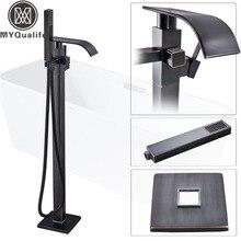 Best Quality Bathtub Faucet Freestanding Bathroom Tub Sink Faucet Single Handle Black Waterfall Bath Shower Set with Handshower