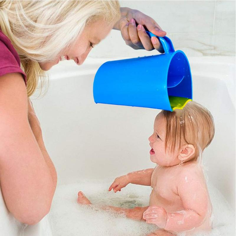 Baby Bath Cap Kids Washing Hair Shampoo Cute Cartoon Whale Cup Children Shower Spoons Silicone Water Scoop Cup For Kids Bathing