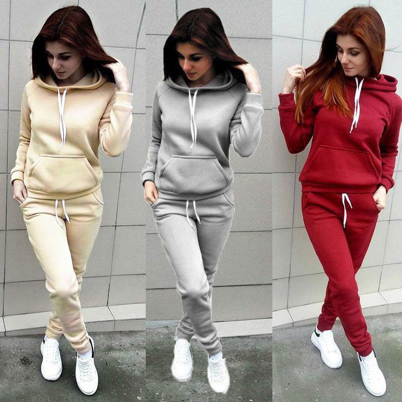 2019 Hot Women Hoodies Sports Tops Pants Tracksuit Sweatshirt Sweat Suit Jogging Set Ladies Casual Solid Hooded Sweatshirt Pants