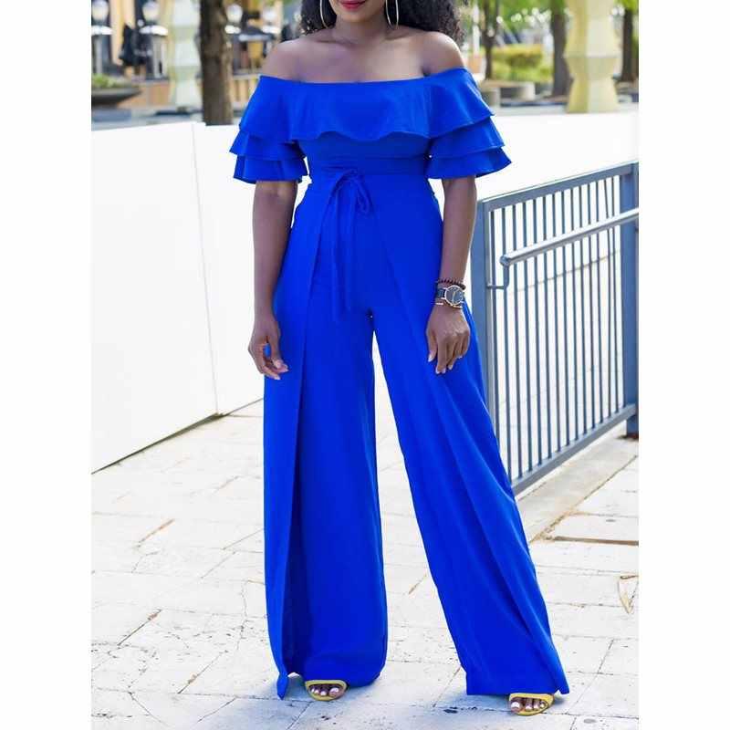 Mono Sexy con hombros descubiertos para mujer pantalones de pierna ancha cintura alta ajustado verano moda azul elegante mujer volantes fiesta mono largo