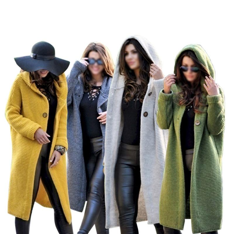 Anti-Wrinkle Classic Long Sweater Cardigan With Cap Women Warm Comfortable Soft Solid Color Simple Casual Rabbit Hair Sweater