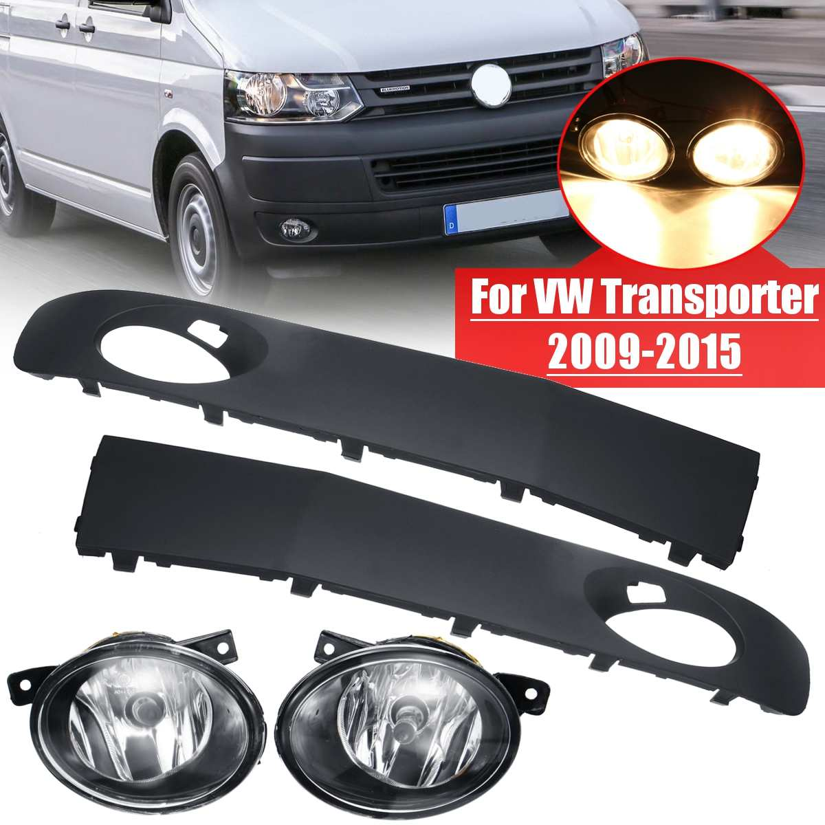 Pair Front Bumper Fog Light Lamp With Grilles For VW Transporter/Caravelle 2009-2015 For VW T5 2003-2010 With Switch+Wiring