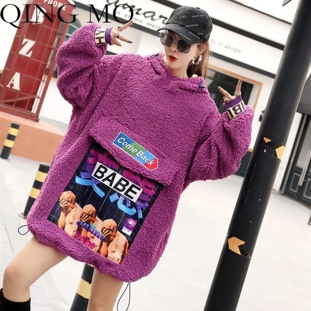 QING MO Winter Women Lamb Coat Thick Hooded Patch Letter Printing Purple  Khaki Loose Women Pullover Sweatshirt Dress QF175 e91e10cc4