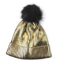 Женские зимние шапки с металлическим принтом, Повседневные шапки в стиле хип-хоп, шапка черепки, мужские шапки, осенне-зимняя позолоченная вязаная шапка