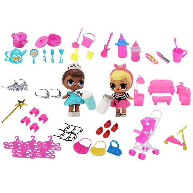 98 Pcs Miniatuur Pretend Set Speelgoed Voor Barbie Poppen Geschenken Kinderen Meubels Spelen Puur Wit En Doorschijnend