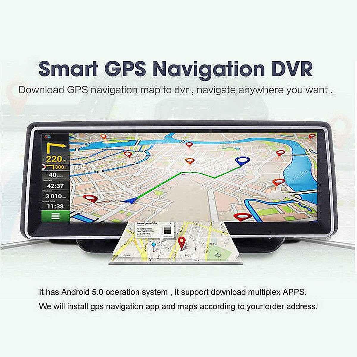 8 inch Double lens HD Car GPS Navigation navigator Android FM Video camera  bluetooth Map Sat nav Truck gps navigators automobile