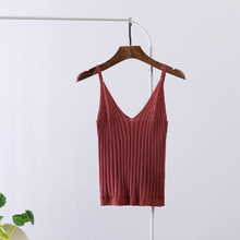 Sexy Knitting Camisoles Women Casual Tank Tops Deep V-neck Slim Sling Solid Spaghetti Strap Vest Fitness T-Shirt Plus Size New self tie v neck spaghetti strap t shirt