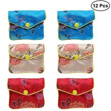 12pcs Gift Wrap Storage Chinese Traditional Brocade Pouch Coin Purse Embroidery Pouch Jewelry Bag(China)