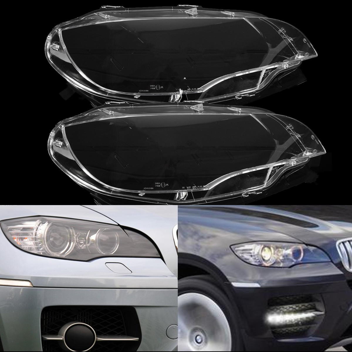 LEFT + RIGHT Headlight Headlamp Lens Replacement Cover For BMW 2008 2013 X5 E70