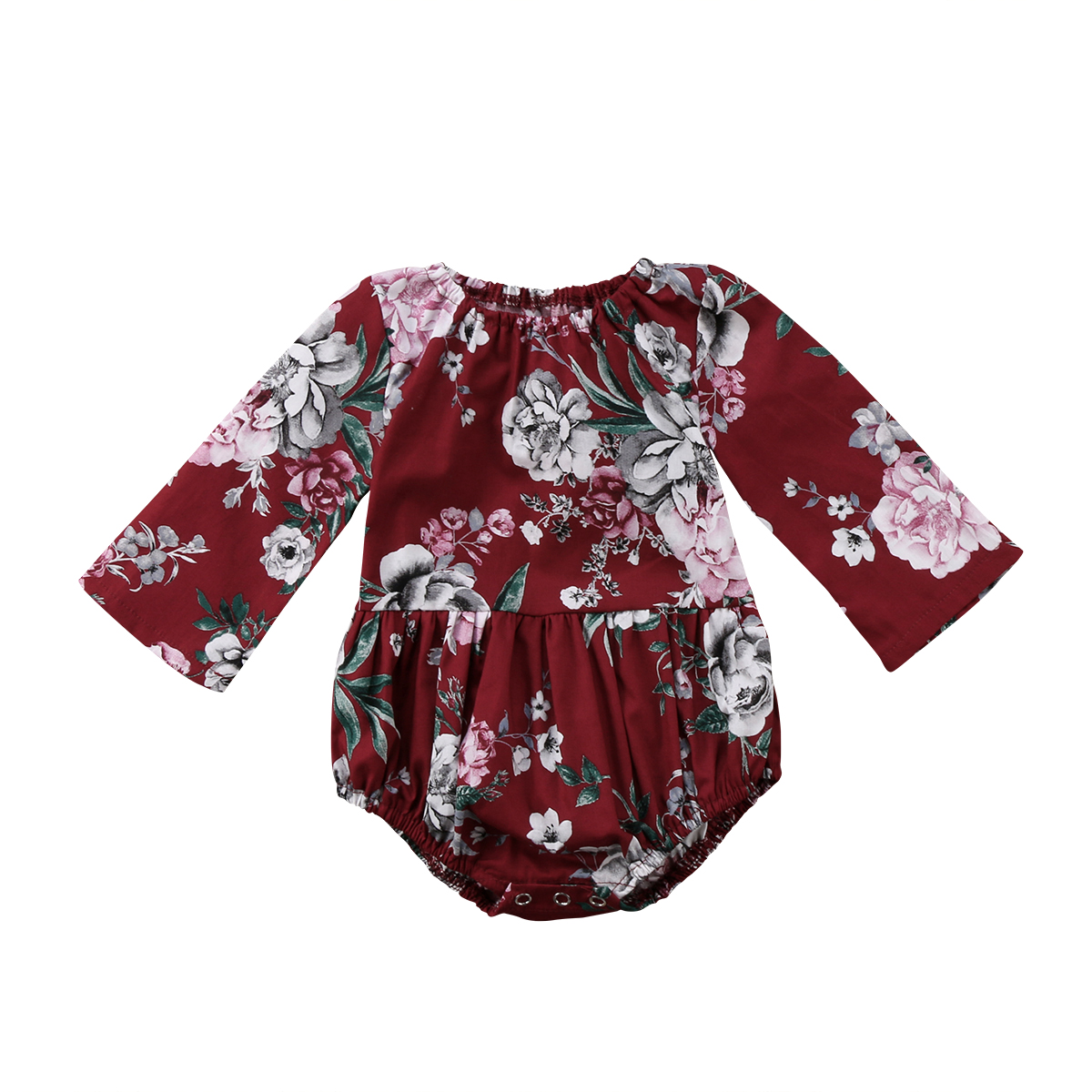 2018 Adorable Baby Kids Girls   Rompers   Cotton Floral Printed Long Sleeve Jumpsuit   Romper   Clothes