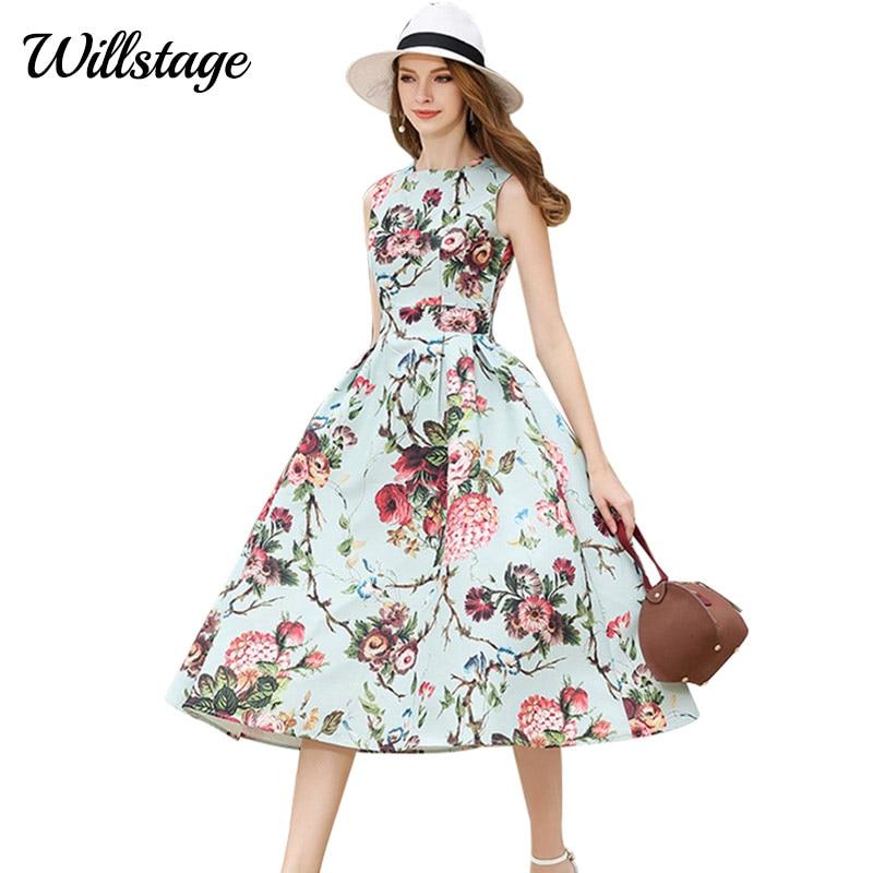 Rochii de vară Willstage Foral Boho Femei Vintage Elegantă - Îmbrăcăminte femei