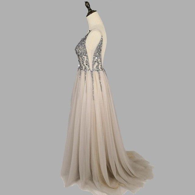 Sexy Deep V-Neck Side Split Long Evening Dress 2019 New Arrivals Backless Sparkly High Slit See Through Abendkleider Lang 6