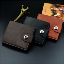 High Quality Men Wallets Male Leather Purse Money Clip Magnetic Buckle Wallet Classic Short Holders