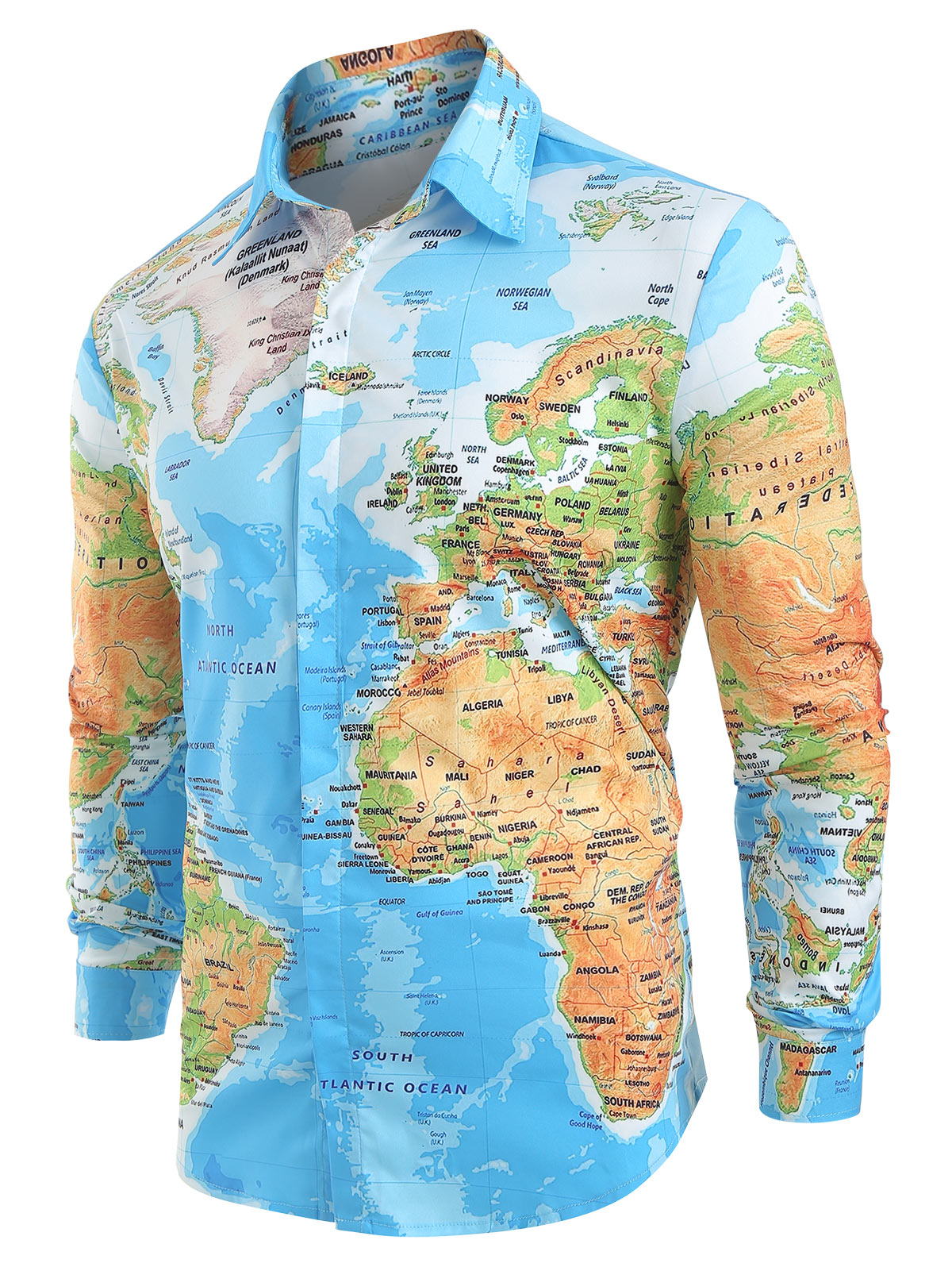 2019 Spring Autumn Men Shirt World Map Print Hidden Button Slim Fit Shirts Long Sleeve Lapel Casual Shirts