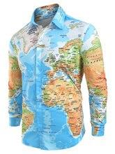 2019 Spring Autumn Men Shirt World Map Print Hidden Button Slim Fit shirts Long Sleeve Lapel Casual Shirts