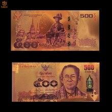 Thaïlande monnaie colorée 500 Baht or billet de banque en 24k plaqué or papier argent billets de banque Collection et décorations pour la maison