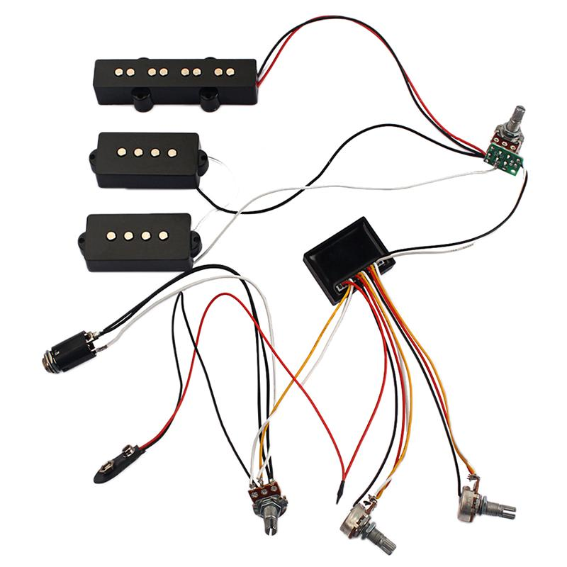 3 Band Equalizer EQ Preamp Circuit Bass Guitar Tone Control Wiring Harness And JP Pickup Set For Active Bass Pickup