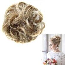 נשים גבירותיי חדש פוני זנב מבולגנים מתולתל הארכת שיער Bun פאה גומיית