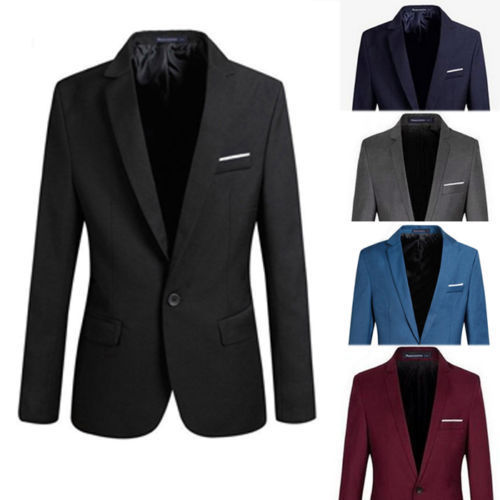 Blazer Jacket Coat One-Button-Suit Slim-Fit Notched Formal Top Cotton Blend Long-Sleeve