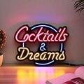 Коктейльная мечта, Настоящая стеклянная трубка, неоновый светильник, знак, таверна, пивной бар, паб, украшение, неоновая лампа, доска, коммер...