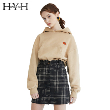 HYH HAOYIHUI Leaves Harajuku Casual Sweatshirts Embroidery Hoodie Winter Fleece Solid Color Pullover