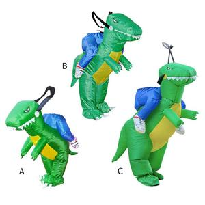 Image 2 - 3D Stand Riding Inflatable Dinosaur Costume Halloween Dress Cosplay Suit Horse Cowboy Costume for Kids Adult Party Prop Supplies