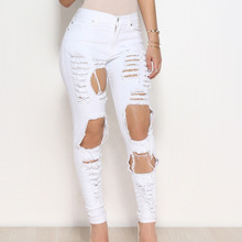 High Waist Trim Stretch Hole Tear Personality Jeans Street Casual Women Skinny Pencil Bleached Washed Denim Pants Ripped Elastic ripped bleached denim pants