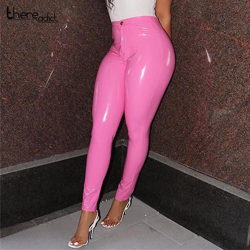 Sheer Solid PU Leather High Waist Sexy Pants Women Winter Button Thin Stretch Pencil Trousers Casual Streetwear Pants