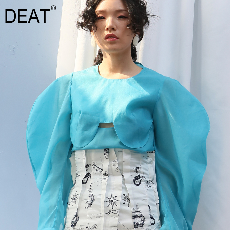 DEAT 2019 new summer women clothes fashion circle cuted lantern sleeves organza round neck sexy female