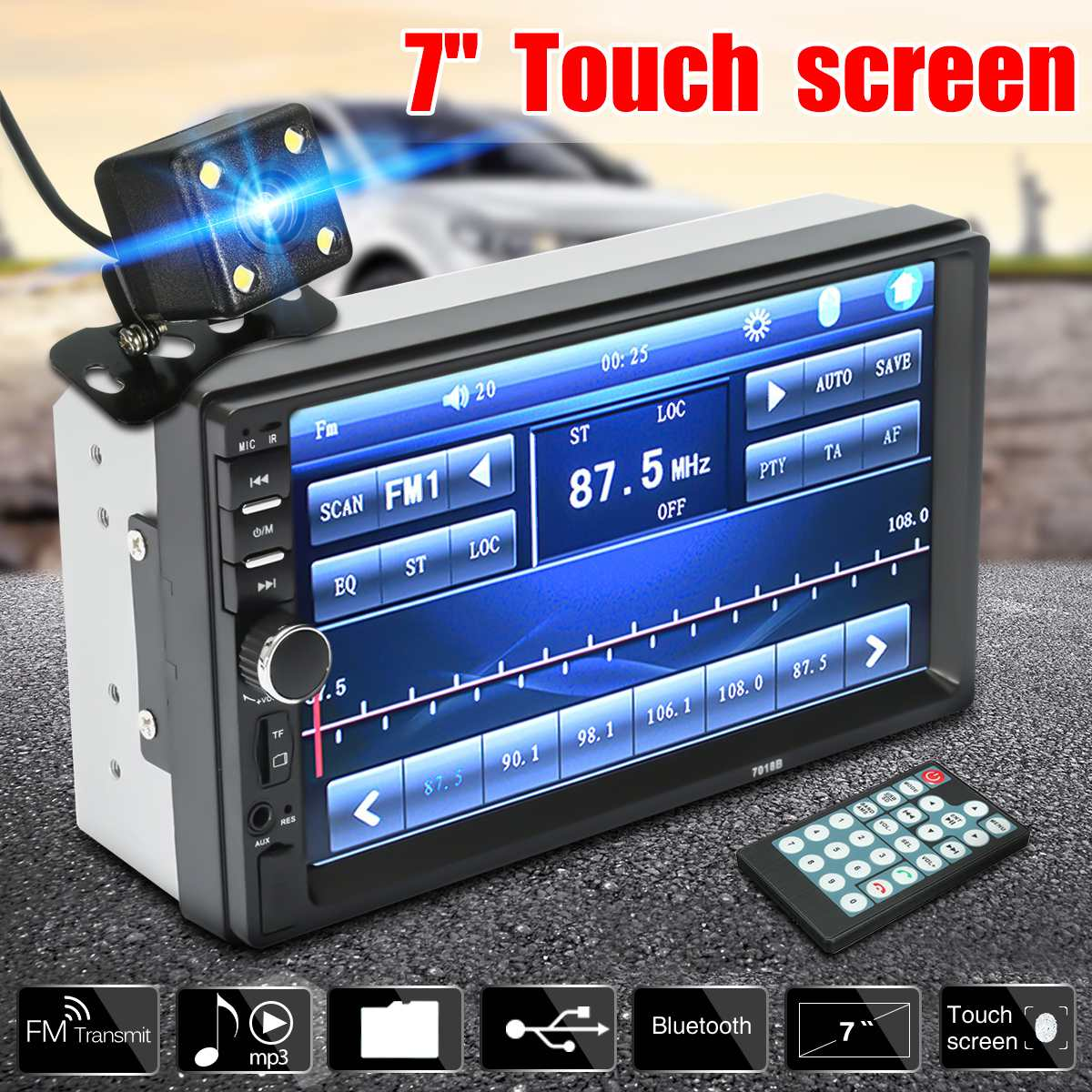 universal 7inch 2 din bluetooth lcd touch screen car radio stereo multimedia usb sd fm aux mp5. Black Bedroom Furniture Sets. Home Design Ideas