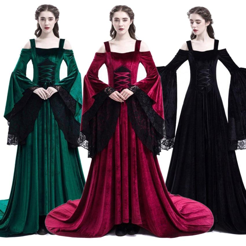 Halloween Renaissance Princess Medieval Costume Victorian Women Classical Evening Dresses Queen Retro Lace Floor Length Dress