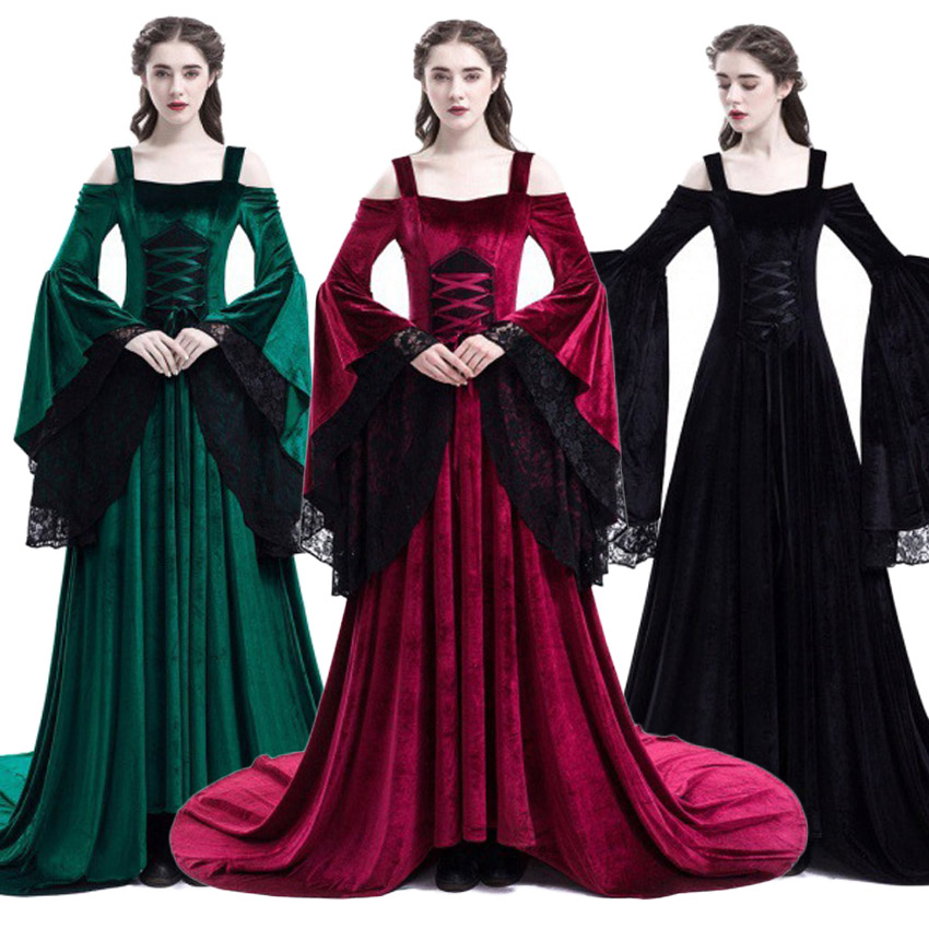 Halloween Renaissance Princess Medieval Costume Victorian Women Classical Evening Dresses Queen Retro Lace Floor Length Dress