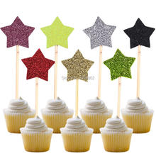 12  Colorful Glitter Star Cupcake Toppers Baby Shower Birthday Little Cake Decoration Wedding Party Supplies