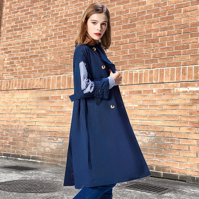 Wd833 Moda Dividir Suelto Común Blue 2019 navy Primavera Lanmrem Largo Estilos Nueva Mujer Khaki Cazadora Rayas Personalidad Inglaterra Abrigo zwZnCSq