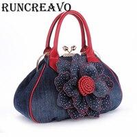 2018 new Woman Bag with Flower brand luxury designer handbags women demin pu leather tote shoulder bag bolsa feminina sac a main
