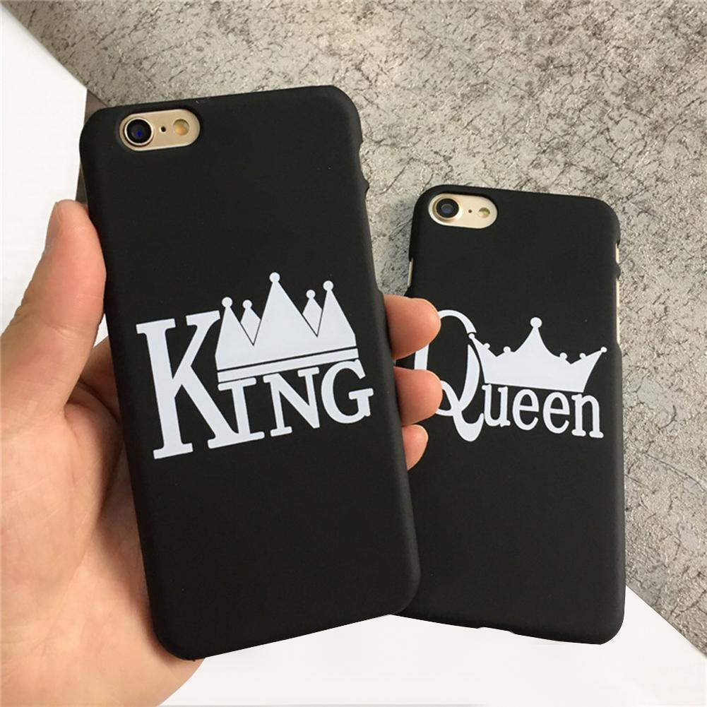 Fashionable King Queen Matte Hard Back Phone Case Cover for iPhone X 7 8 Plus