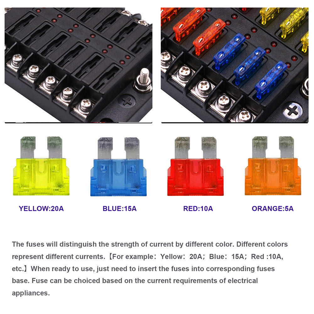 Image 3 - Car Accessories Fuse Box Holder With LED Light 12 Way Fuse Box Power Supply Insert Type Damp Proof Block Marine-in Fuses from Automobiles & Motorcycles