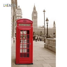 Laeacco London Street Telephone Booth Photography Backgrounds Portrait Photocall  Photographic Backdrops For Photo Studio